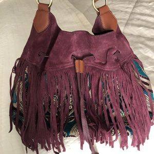 Sam Edelman Suede Fringe Cinch bag